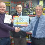 Left to right- David Jackson (winner) with Anthony Morrison (branch manager) and Derek Tomlinson (Regional sales manager).