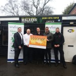 Matthew Warren (CES UK Area Manager), Ben Spencer (Servicesure Sales Manager), Thomas Docking (Competition Winner) & partner Gary, Matt Hale (Owner of Walkers Garage)